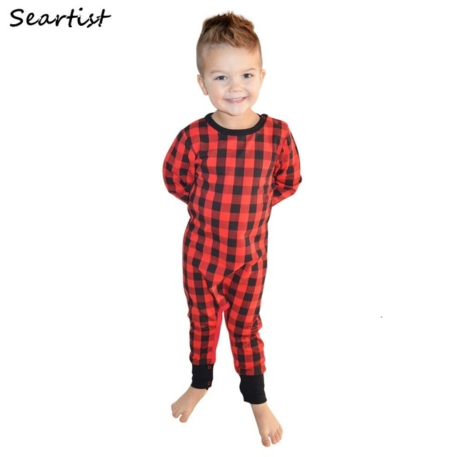 8455a7ac9166 Newborn Christmas Rompers Baby Boys Girls Red Plaid Jumpsuit Kids Pajamas  Infant Jumper 2019 New Arrival 40G