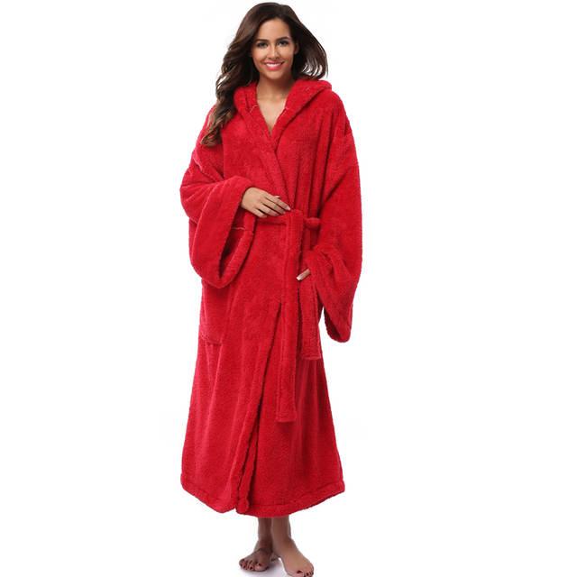 placeholder Winter Thick Warm Women Robes 2018 Coral Fleece Sleepwear Long  Robe Woman Hotel Spa Plush Long dc05db01e