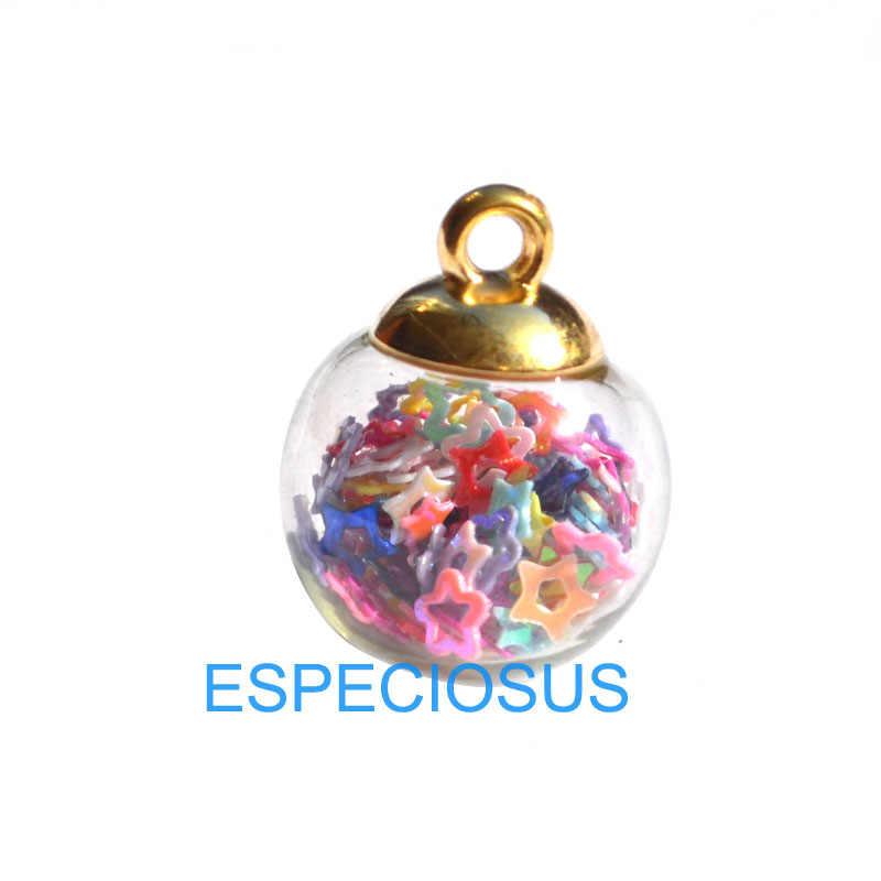 Decorative Pendant Magic Ball Transparent Glass Charm Hallow Pentagram Jewelry Find Mix Color 16MM Round Earring Accessory 5pcs