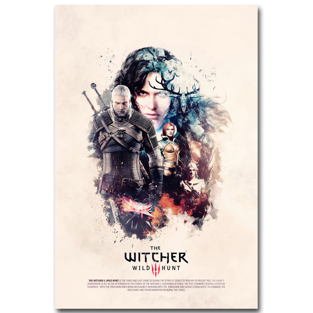 Geralt - The Witcher 3 Wild Hunt Art Silk Poster Print 13x20 24x36 - Dekorace interiéru