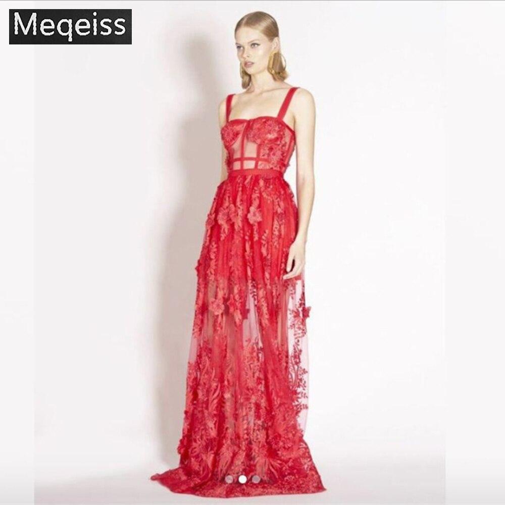 MEQEISS 2019 nowy kobiety sukienka czerwone koronki hafty bandaż słodki kwiatowy Mesh suknia boże narodzenie w stylu pasek moda Sexy sukienka na imprezę w Suknie od Odzież damska na  Grupa 1