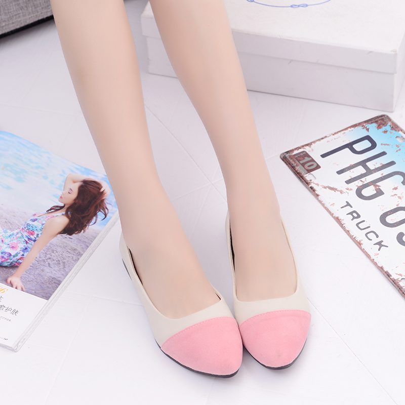 2017 women lady shoes flat heel Spring autumn Boat Pointed toe slip on casual simple mixed color Pink Yellow Blue Black Red new brand autumn women metal flat shoes casual lady slip on flats soft soled natual leather pointed toe shoes comfort female