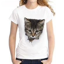 Ectic Summer Women Soft Cotton Black Cat Head T Shirt Simple Casual Tide La Office
