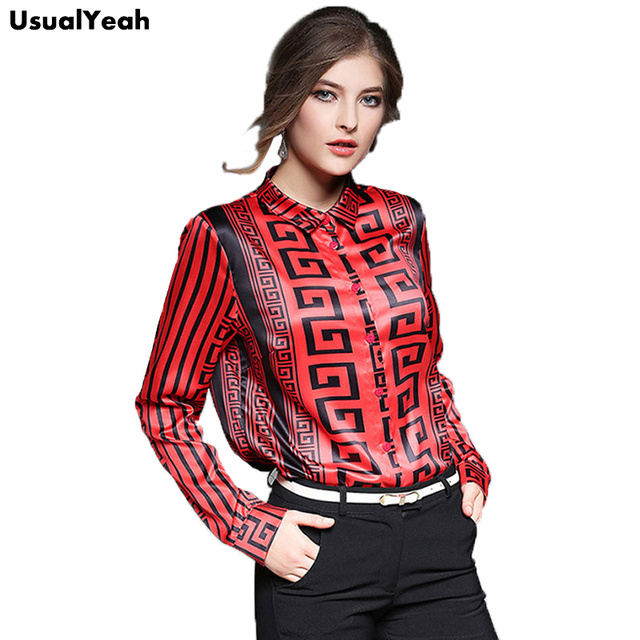 USUALYEAH New 2017 Autumn Women Long Sleeve Maze Printing Blouses Shirts Female OL Clothing Women Sexy Slim Blouses Shirts Tops