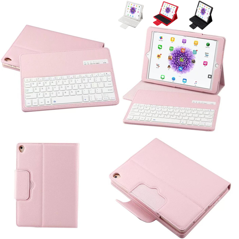 2 in 1 Removable wireless Bluetooth Keyboard + PU Leather Case For Apple iPad 9.7 2017 Fashion Solid Case Cover With Keyboard for apple ipad 5 air removable pu leather case stand cover wireless bluetooth keyboard usb cable for ipad 6 air2 pro 9 7