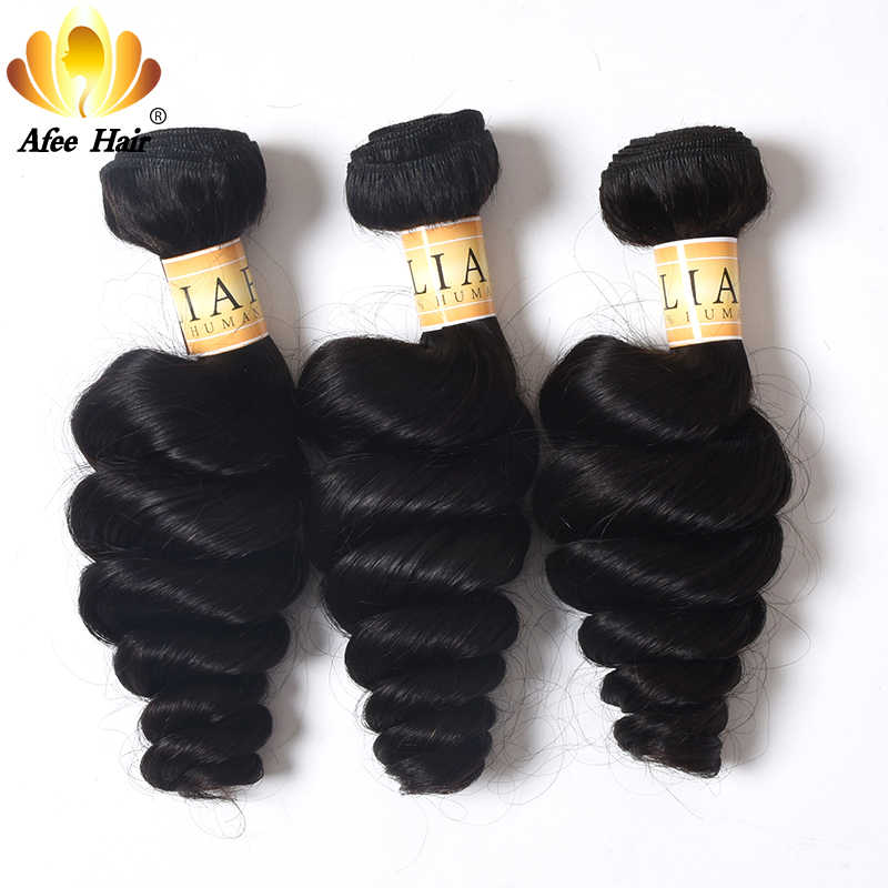 AliAfee Brazilian Loose Wave Non Remy Hair Weave 3 Bundles Deal Brazilian Loose Wave Bundles 100% Human Hair Extension