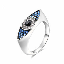 jingyang  Blue Evil Eyes Rings for Women Sterling Party fashion Wedding girl lover bague femme Classic ring Silver Jewelry