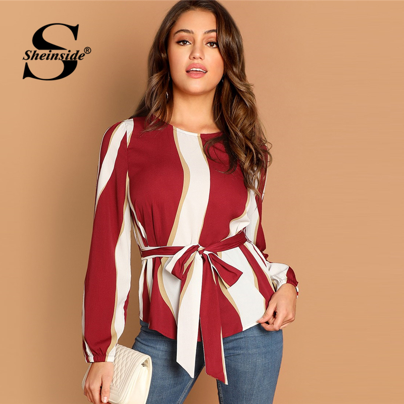 bf229c591e3 Sheinside Office Ladies Elegant Tops Women Long Sleeve Blouse Burgundy  Striped Print Top Woman Blouses 2018 ...
