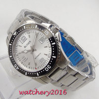 2019 Fashion Casual Brand BLIGER Automatic Men's Wrist Watch Silver Dial ceramic bezel Sapphire Steel Watch Relogio Masculino