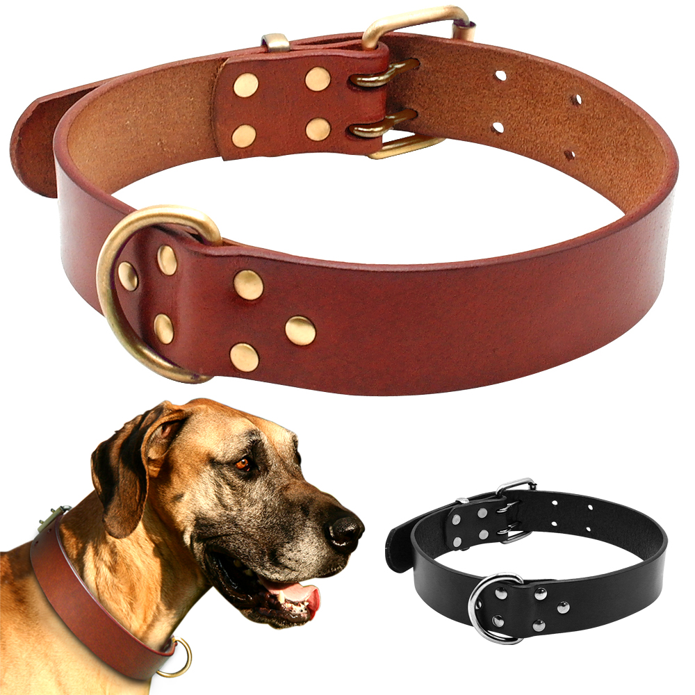 Luxury Best Genuine Leather Pet Dog Collars For Pit bull German Shepherd Labrador with Durable D ring & Buckle S/M/L/XL BlackLuxury Best Genuine Leather Pet Dog Collars For Pit bull German Shepherd Labrador with Durable D ring & Buckle S/M/L/XL Black