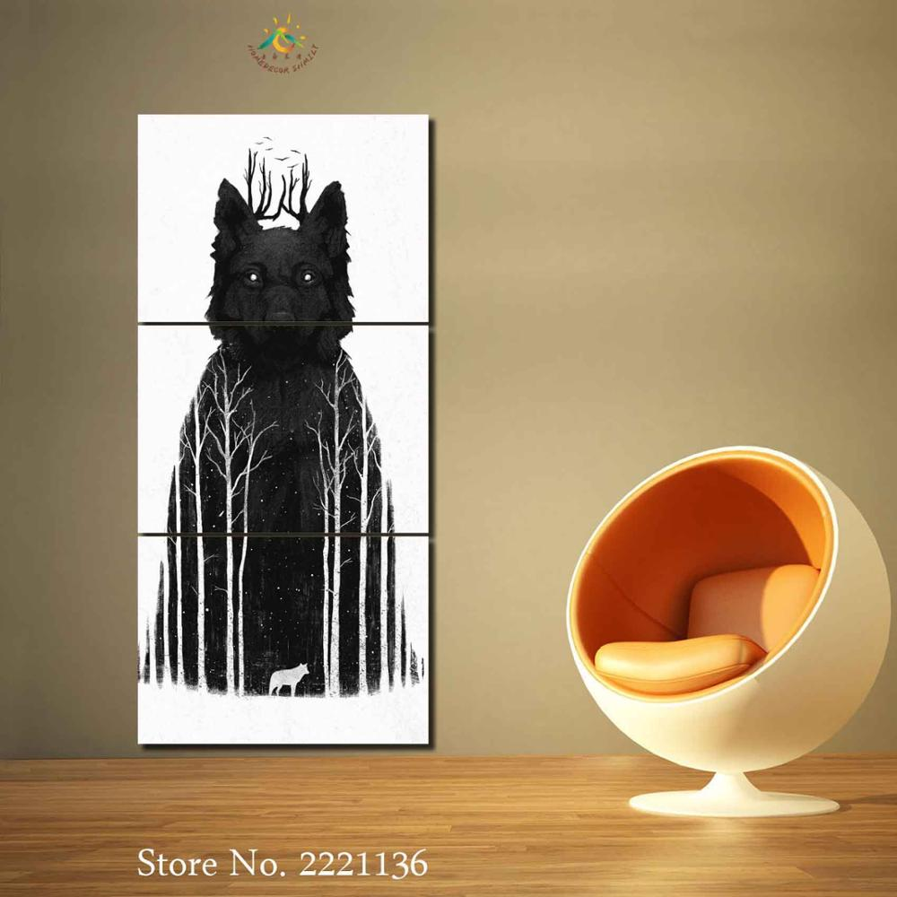 3 4 Pieces Black Skir Abstract Wolf Pictures Modern Home Decor Wall ...