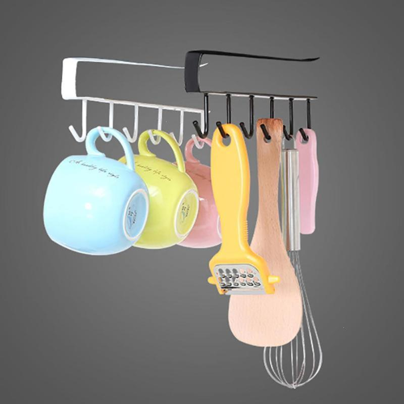 1PC Multifunctional 6 Hook Rack Bathroom Towel Clothes Hanger Kitchen Cup Dish Hanging Organizer Hooks A30