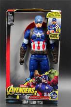 30CM dźwięk i światło figurka prezenty Avengers Iron Man Hulk kapitan ameryka Thor Thanos Batman Spider-lalka człowiek chłopcy prezent tanie tanio Model Wyroby gotowe Unisex about 30cm 1 12 First Edition 6 lat Dorośli 14 lat 12-15 lat 5-7 lat 8 lat 3 lat 8-11 lat