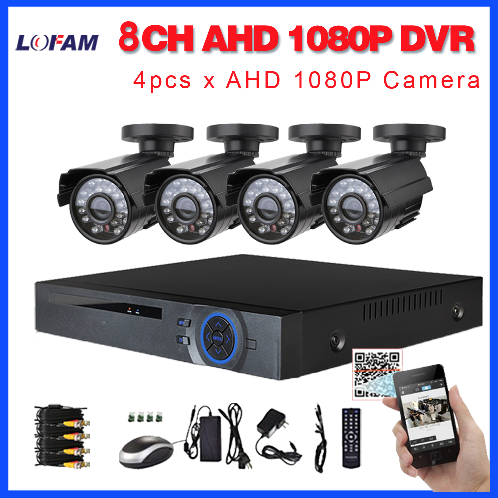 LOFAM 8CH CCTV System 4PCS 2MP Outdoor Waterproof Security Camera 8CH AHD 1080P DVR Day Night