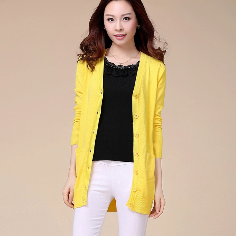 Women V neck Full Sleeved Sweater Fashion Yellow Color Cardigan ...
