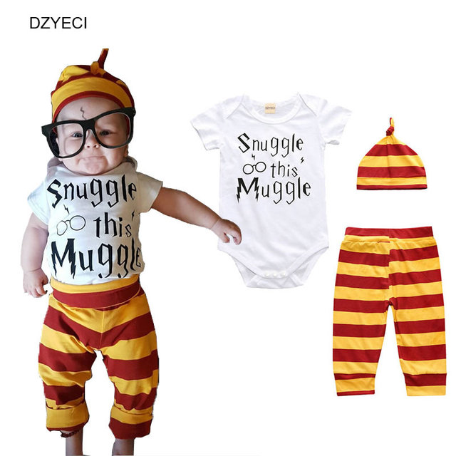 b16c02f6f Summer New Born Set Clothes Snuggle This Muggle Bodysuit Stripe Pants Hat 3pcs  Baby Boy Girl Letter Layette Infant De Tracksuit