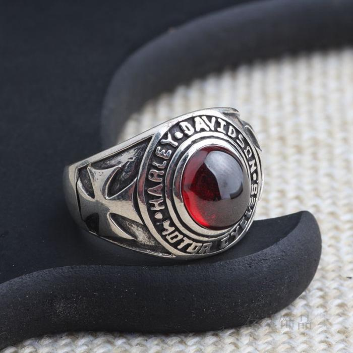 S925 Sterling Silver Silver Hand inlaid natural garnet ring ring antique import vampire Crusade flower