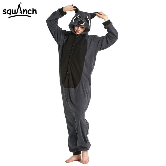 dff349930c Gray Black Raccoon Onesie Kigurumi Girls Women Adult Animal Pajama Costume  Winter Sleep Wear Overall Party Funny Cool Jumpsuit