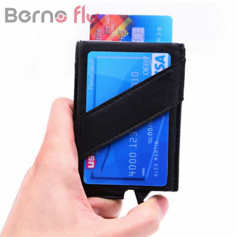 BERNO FLY Aluminum Leather Wallet ID Business Card Holder Rfid ...