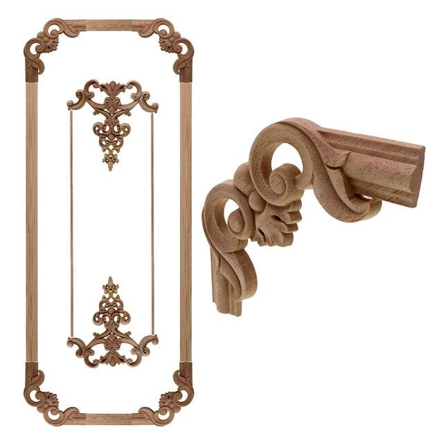 VZLX Antique Decorative Wood Appliques For Furniture Decor Cabinet Door  Irregular Wooden Mouldings Flower Carving Figurine - VZLX Antique Decorative Wood Appliques For Furniture Decor Cabinet