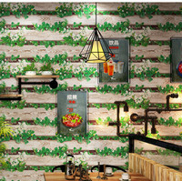3D Pastoral Floral Wood Grain PVC Wallpaper Roll for Walls Living Room Hotel Wall Paper Wall Coverings 10Mx53CM Home Decoration