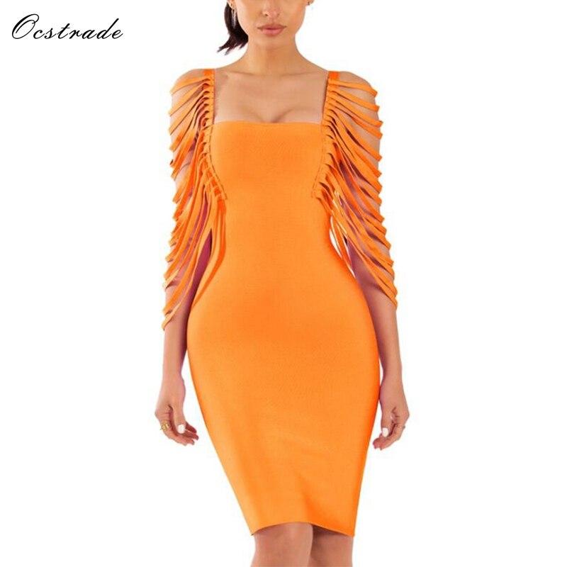 Ocstrade Orange Bandage Dress 2019 Summer Women Detail Yellow Fringe Bandage Dress Half Sleeve Ladies Bodycon