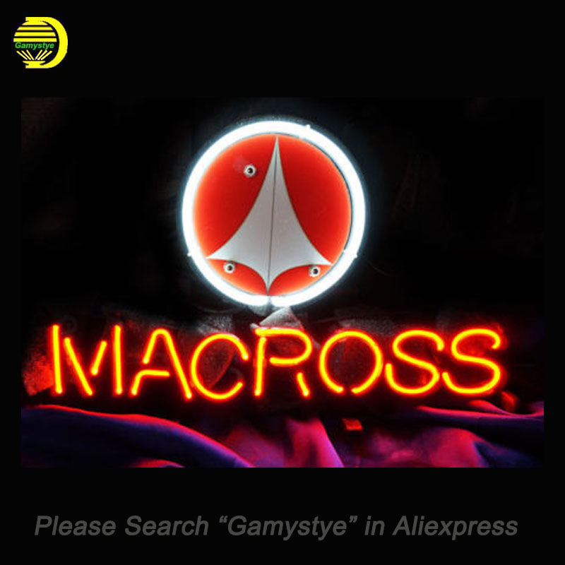 MACROSS BEER Neon Sign Glass Tube Neon Bulb Sign Beer Bar Sign Board lighted Lamp personal vintage Handcraft light up for sale custom signage neon signs pizza beer real glass tube bar pub signboard display decorate store shop light sign 17 14