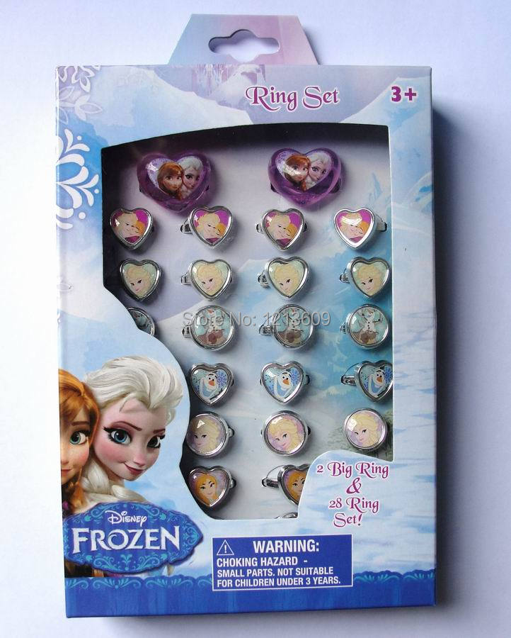 10 Box 300 Pcs Anna Elsa Children Cartoon Round Girl s Rings Wholesale Free Shipping