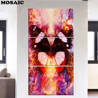 5D DIY full square Rhinestone Diamond Embroidery sale 3pcs Diamond Painting butterfly beauty Cross Stitch Home Decoration crafts