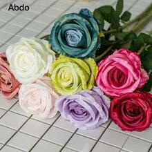 1Pcs abdo 70cm Rose White Silk Artificial Flowers Bouquet  10cm Head Fake for Home Wedding Decoration Indoor