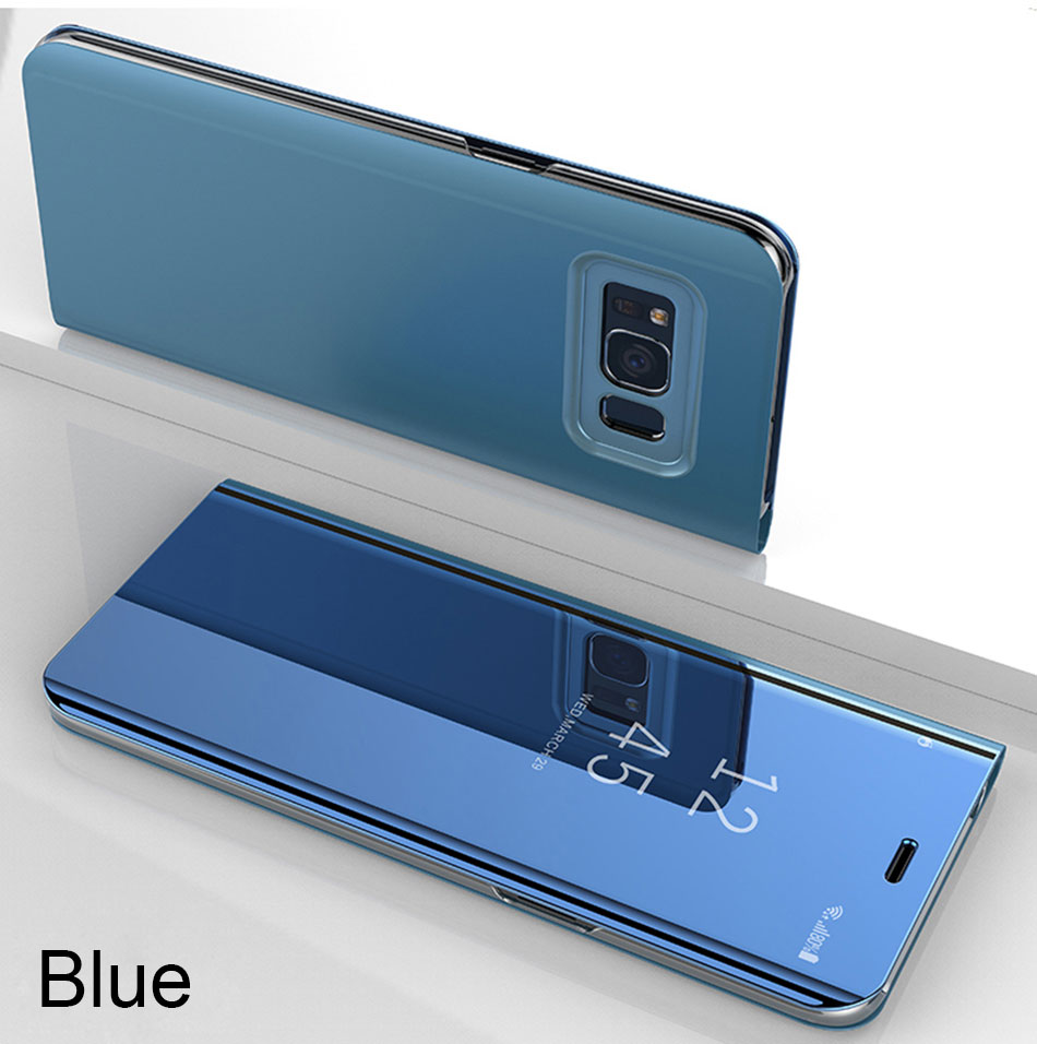 Flip Stand Smart Mirror Clear View Samsung Galaxy S8 S9 Plus S7 Edge Note 8 Phone Case