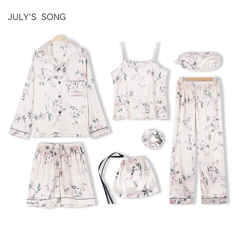 JULY'S SONG 7 Pieces Silk   Pajamas   For Woman Printing Satin Silk   Pajamas     Set   Women Girls Sleepwear   Sets   Spring Autumn Homewear
