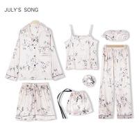 JULY'S SONG 7 Pieces Silk Pajamas For Woman Printing Satin Silk Pajamas Set Women Girls Sleepwear Sets Spring Autumn Homewear