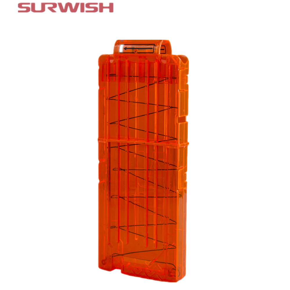 Surwish 12 Reload Clip Magazines Round Darts Replacement Plastic Magazines Toy Gun Soft Bullet Clip Orange For Nerf N-Strike