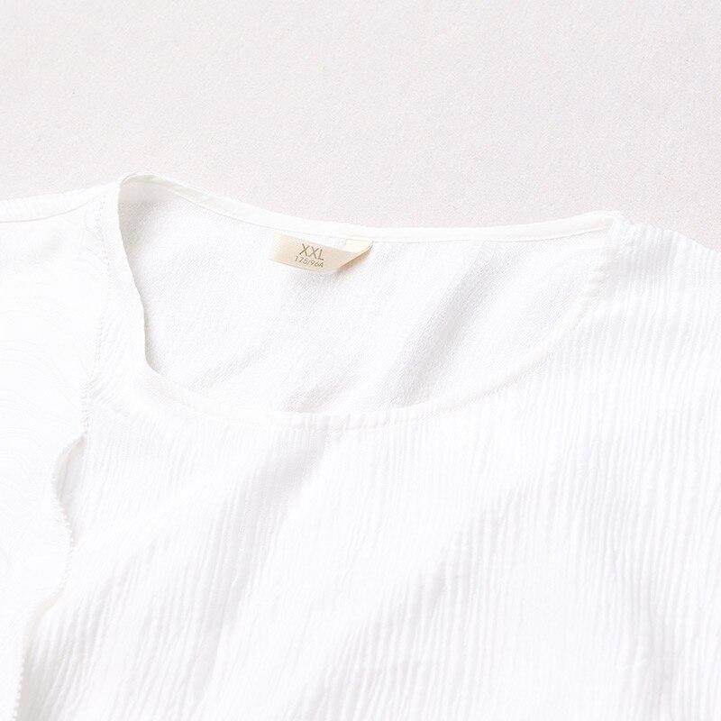 Image 3 - VOA Silk Plus Size Loose Embroidery Casual Dress Women Short  Sleeve Cloak Sleeve White Fake Two Set Belt Muslim Robe Fall  A7520muslim robecasual dress womencasual dress