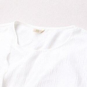 Image 3 - VOA 실크 플러스 사이즈 느슨한 자수 캐주얼 드레스 여성 짧은 소매 망토 슬리브 화이트 가짜 두 세트 벨트 이슬람 가운 가을 A7520