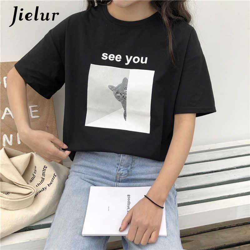 Jielur, модные женские футболки, лето 2019, Харадзюку, мультяшный Кот, принт, футболка, свободная, кавайная, короткий рукав, футболка, женская, Haut Femme