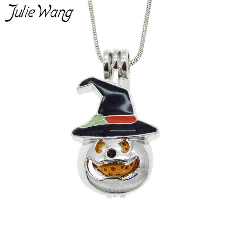 Julie Wang 5PCS Alloy Enamel Lips Pumpkin Ghost Owl Pearl Beads Cage Essential Oil Diffuser Locket Pendant Necklace Jewelry
