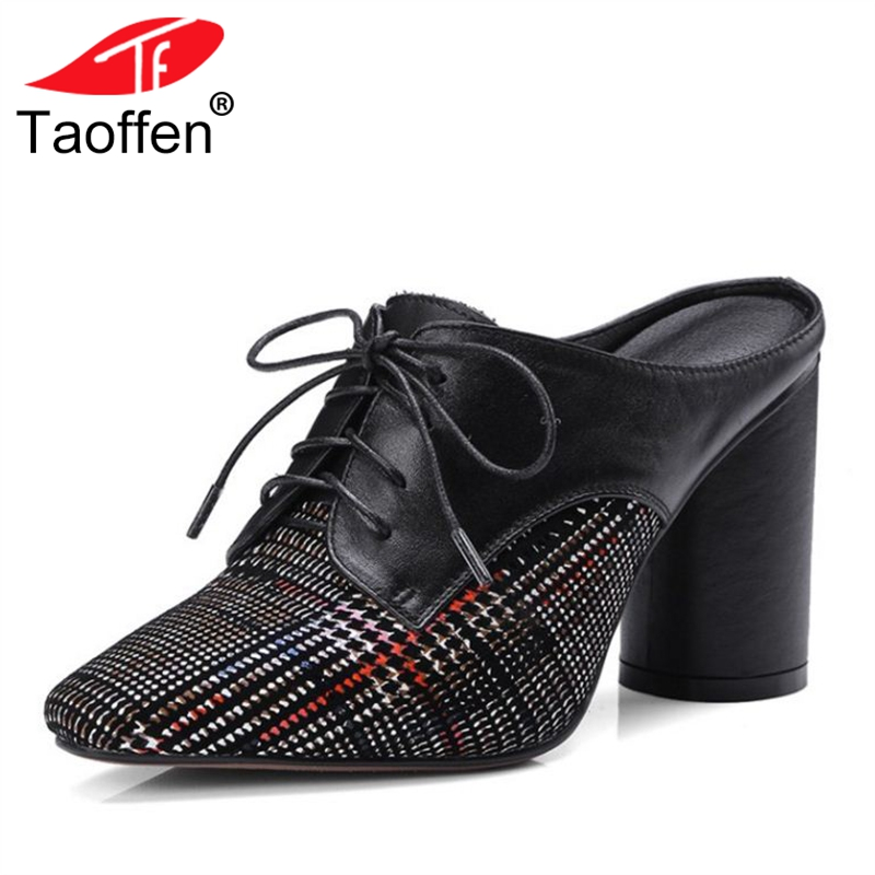 TAOFFEN Size 33-40 Women Real Leather High Heel Mules Shoes Square Toe Lace Up Round Heels Pumps Club Shoes Women Footwear big size 11 12 elegant round toe lace up casual square heel women s shoes high heels pumps woman for women