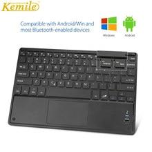Kemile ультратонкая Беспроводная Bluetooth клавиатура, сенсорная клавиатура, испанская русская Арабская иврит наклейки для Android, система Windows