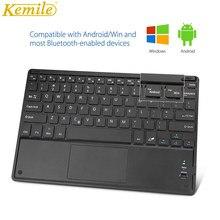Kemile teclado sem fio bluetooth, ultrafino, touchpad, teclado, espanha, russo, árabe, hebraico, adesivos para android, windows, sistema