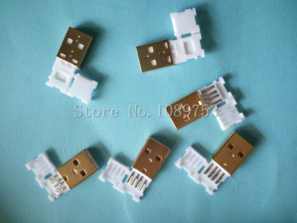 10pcs USB Male Plug Connector With White Folding shell Gold Plated Welding Type Charge Date Line DIY Plugs brand new 3 in 1 a type 2 0 usb male plug with plastic shell hole connector black soldering wire usb diy accessories