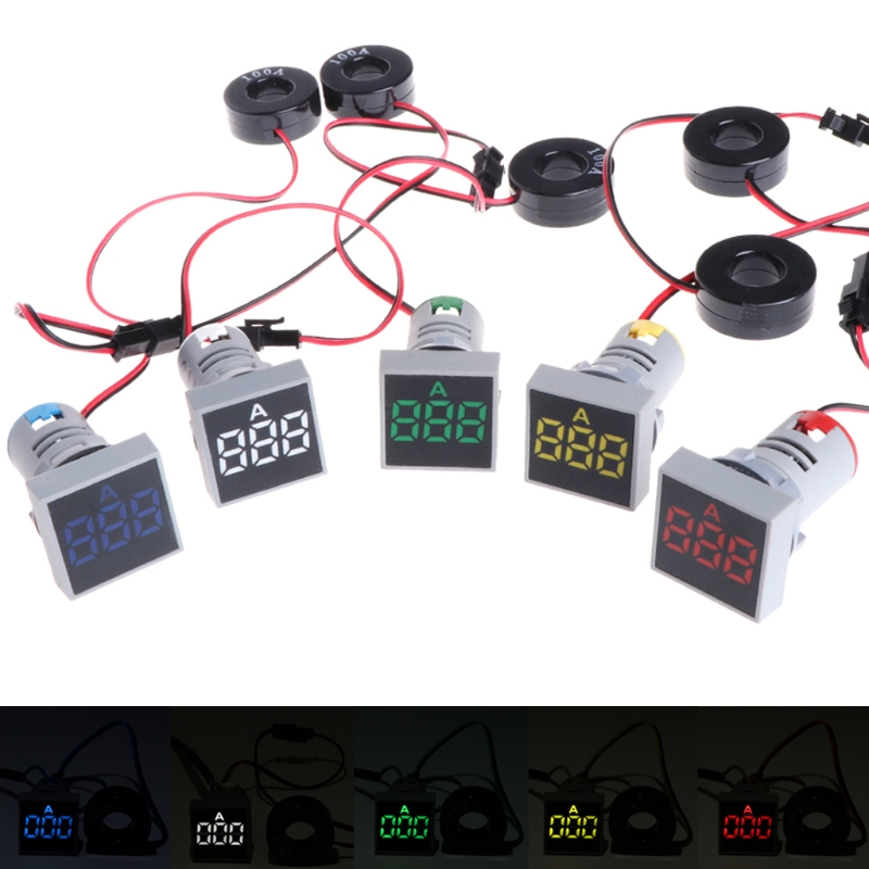 Ootdty 22mm 0-100a digital amperímetro medidor de corrente indicador led lâmpada luz de sinal quadrado