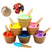 Чашка для мороженого с ложкой прекрасный набор для мороженого десертная чаша прекрасный детский подарок Дети DIY Мороженое Инструменты посуда