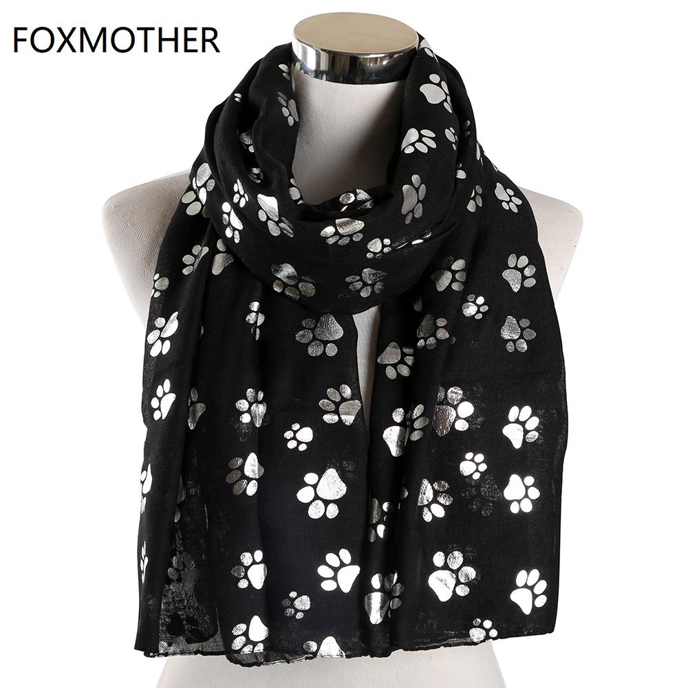 FOXMOTHER New Fashion Foil Sliver White Pink Black Cat Dog Paw Scarf For Pet Dog Lover Mother Gifts Women Scarves 2019