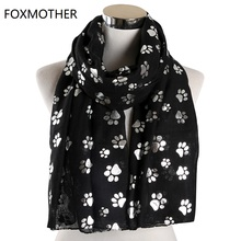 FOXMOTHER New Fashion Foil Sliver White Pink Black Cat Dog Paw Scarf For Pet Lover Mother Gifts Women Scarves 2019