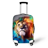 3D Animal Gold Hair Lion Head Suitcase Protective Covers Elastic Anti-Dust Travel Luggage Cover for 18-28 inch Cases