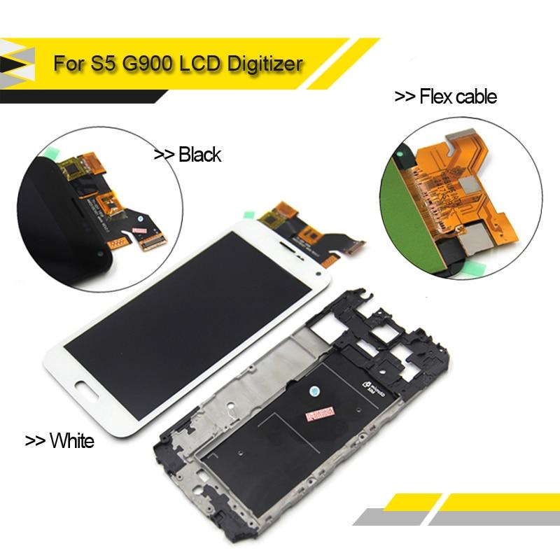 imágenes para Compatible Para Samsung S5 G900 G900F de Pantalla para Galaxy S5 SM-G900 G900F pantalla lcd de Pantalla Táctil con la asamblea Del Digitizador