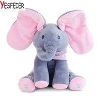 The Elephant Play Hide And Seek Lovely Cartoon Stuffed Elephant Kids Birthday Gift 30cm Cute Music