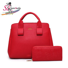 2017 new child package two-piece women's bag Europe and the United States leisure fashion lychee pattern PU leather shoulder bag(China (Mainland))